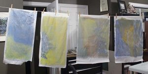 Seven Watercolors on Rice Paper (Batik) Started  WIP