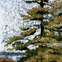 """""""Lone Pine #3"""" 12x24"""" watercolor on rice paper (batik) by Krista Hasson"""