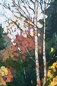 Watercolor batik painting - Birches