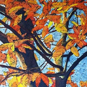 Watercolor batik painting - Fall leaves on tree