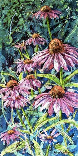 Watercolor batik painting - Cone Flowers #3