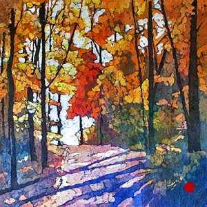 Watercolor batik painting - Fall Shadows