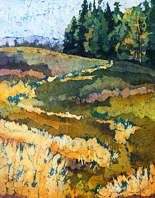 colorful Fields watercolor on rice paper batik by Krista Hasson