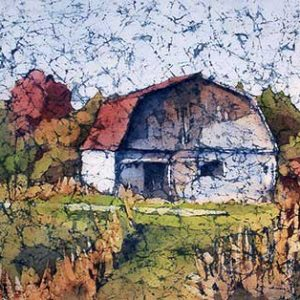 Watercolor batik painting - Old Barn by artist Krista Hasson