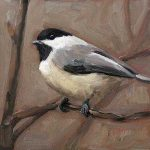 Chickadee - small daily oil painting