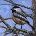 Chickadee #3 - small daily oil painting