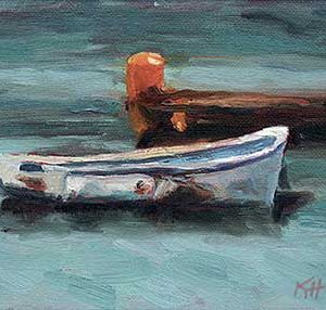 Waiting - small daily oil painting buy original art for sale row boat fishing