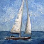 Sailing Away - small daily oil painting