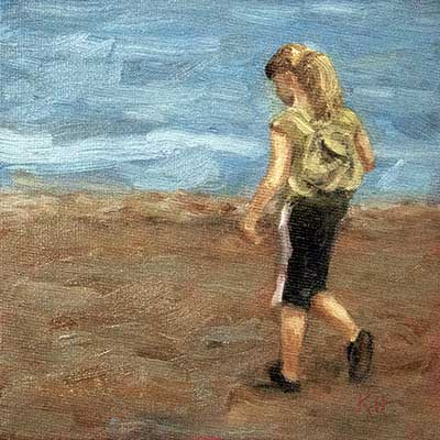 "Beachcomber 6x6"" oil by Krista Hasson"