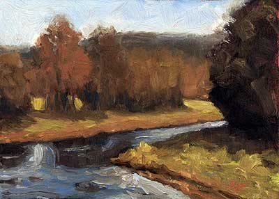 Fall Stream - small daily oil painting