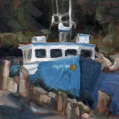 small daily oil painting - boat