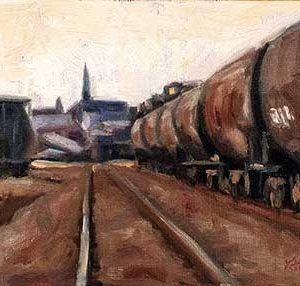 Morning Train - small daily oil painting