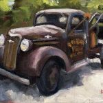 Old Chev #2 - small daily oil painting