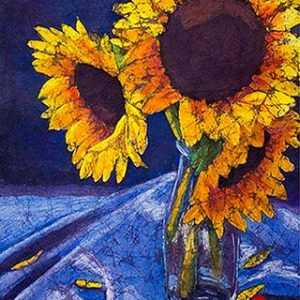 Watercolor batik painting - Bottled Sunshine