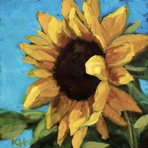 Sunflower #2 - small daily oil painting
