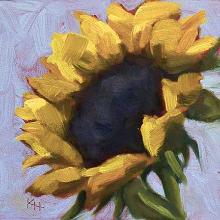 small daily oil painting - sunflower
