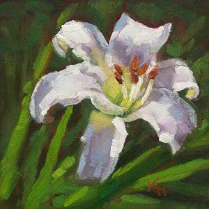 White Daylily - small daily oil painting