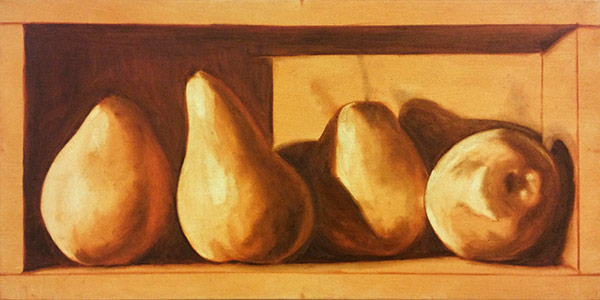 "12x24"" Pears in a box. Week one - Cliff Turner's Oil Still Life Class"